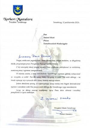List gratulacyjny Prezydenta Miasta Tarnobrzeg Pana Norberta Mastalerza