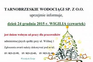 wigilia wolne 2015